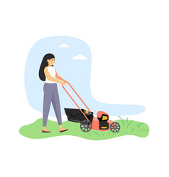 Young woman gardener cutting grass with lawn vector