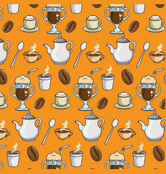 background of coffee related icons vector image