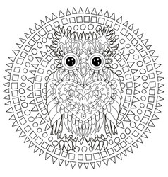 black white tracery doodle of the owl vector image