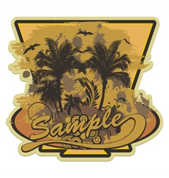 grunge summer label with palm trees vector image