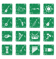 musical instruments icons set grunge vector image vector image