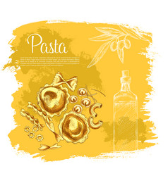 poster of pasta and italian olive oil vector image vector image