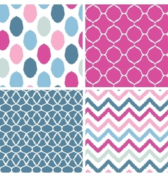 Set of blue and pink ikat geometric seamless vector image vector image
