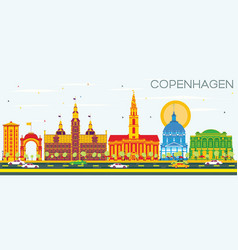 copenhagen skyline with color landmarks and blue vector image vector image