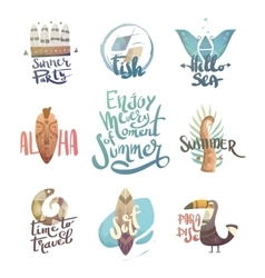 Letternit with palm trees and animals vector image
