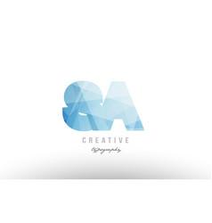 sa s a blue polygonal alphabet letter logo icon vector image