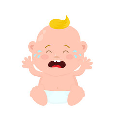 sad crying little baby child boy vector image vector image