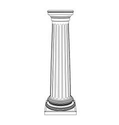 Single greek column isolated on white vector image vector image