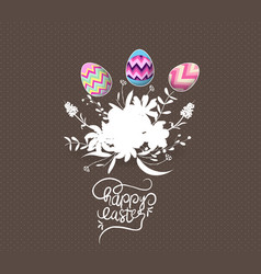 easter egg invited with flowers greeting card vector image vector image