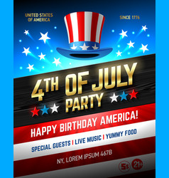 fourth of july usa independence day party poster vector image