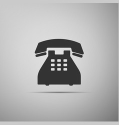 telephone icon on grey background landline phone vector image