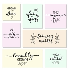 Hand written organic farm messages set vector image