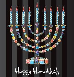 happy hanukkah cookie menorah vector image vector image