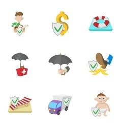 Protection icons set cartoon style vector image vector image