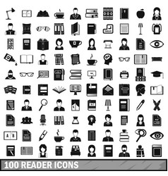 100 reader icons set simple style vector image