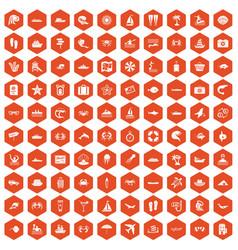 100 sea life icons hexagon orange vector image