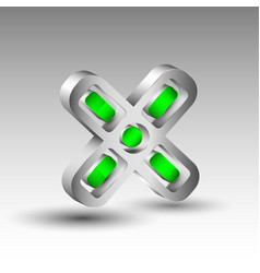 3d letter logo with green elements vector image