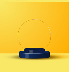 3d realistic yellow rendering and blue podium vector image
