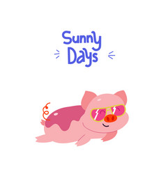 Adorable piggy with fancy sunglasses vector