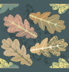 autumn pattern with oak leaves vector image