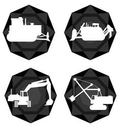 Badges with the technique of coal mining vector image