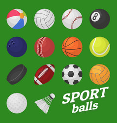 ball game set sport and games kids vector image