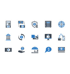 banking icons set black and blue color vector image