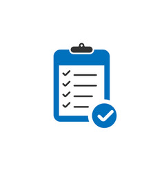 blue clipboard icon with check marks in trendy vector image