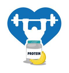 bodybuilder fitness heart protein banana vector image