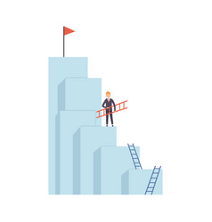 businessman moving up stairway to top vector image