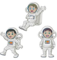 cartoon happy kids wearing astronaut costumes vector image