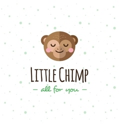 cartoon monkey head logo Flat logotype vector image