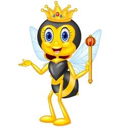 Cartoon queen bee presenting vector