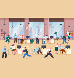 Chaos in office stressed frustrated employees work vector