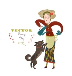 Cheerful elderly woman with funny dog vector image