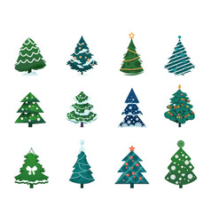 christmas tree cartoon winter holiday fir vector image