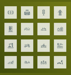 city icons line style set with traffic lights vector image
