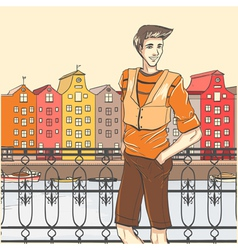 City scene and guy vector image
