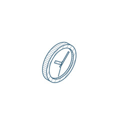 clock time watch isometric icon 3d line art vector image