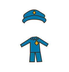 Colorful caricature cop costume profession vector