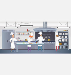Commercial kitchen with cartoon characters chef vector