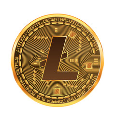 Crypto currency litecoin golden symbol vector