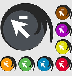 Cursor arrow minus icon sign Symbols on eight vector