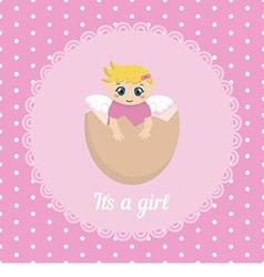 Cute baby girl card vector
