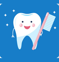 Cute healthy tooth shiny cartoon tooth character vector
