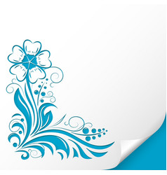 Decorative flower embossed blue ornamental vector