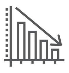 Decrease line icon reduction and analytics vector