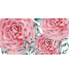delicate rose flowers banner watercolor vector image