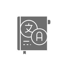 Dictionary vocabulary grey icon isolated vector