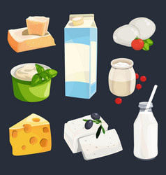 Different milk products vector